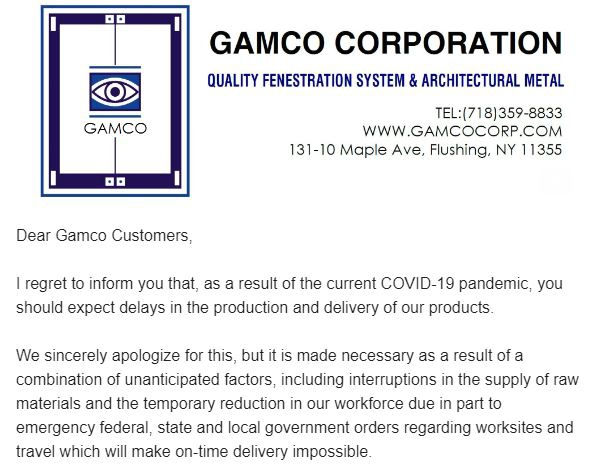 A Letter To Our Customers  Gamco