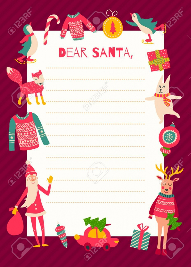 A Vector Template Of A Christmas Letter To Santa Claus Royalty