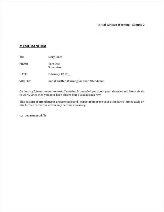 Absence Warning Letter Templates