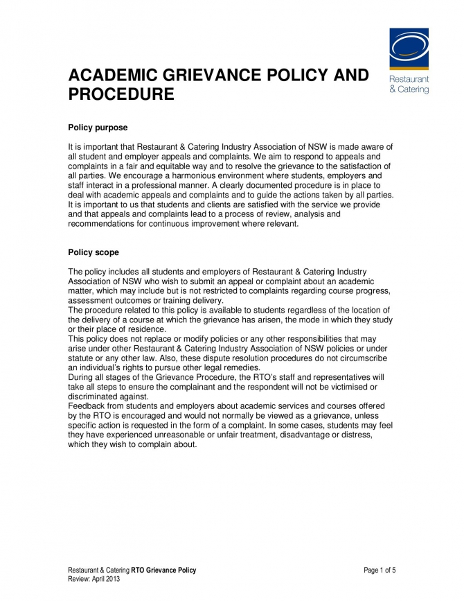 Academic Grievance Policy