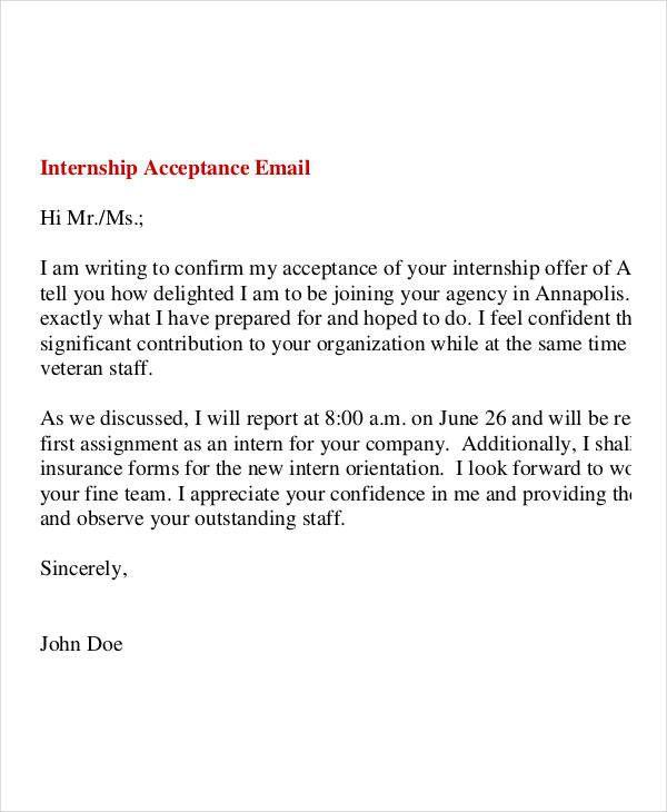 Acceptance Letter For Internship Offer Unique  Internship Fer