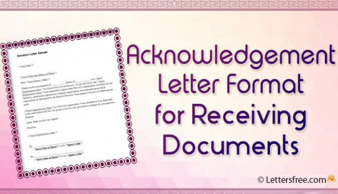 Acknowledgement Letter Format For Receiving Documents