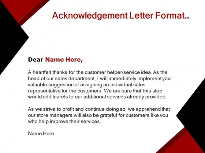 Acknowledgement Letter Format With Name And Briefing Of The