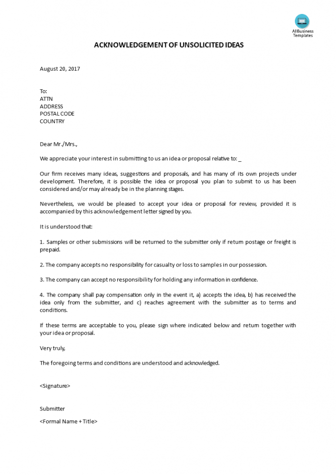 Acknowledgement Letter Unsolicited Ideas