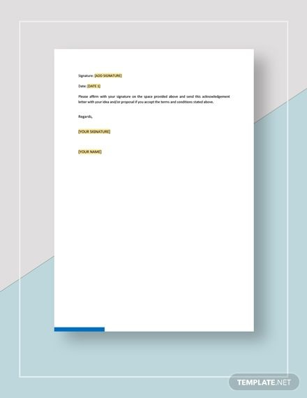 Acknowledgement Of Unsolicited Ideas Template In