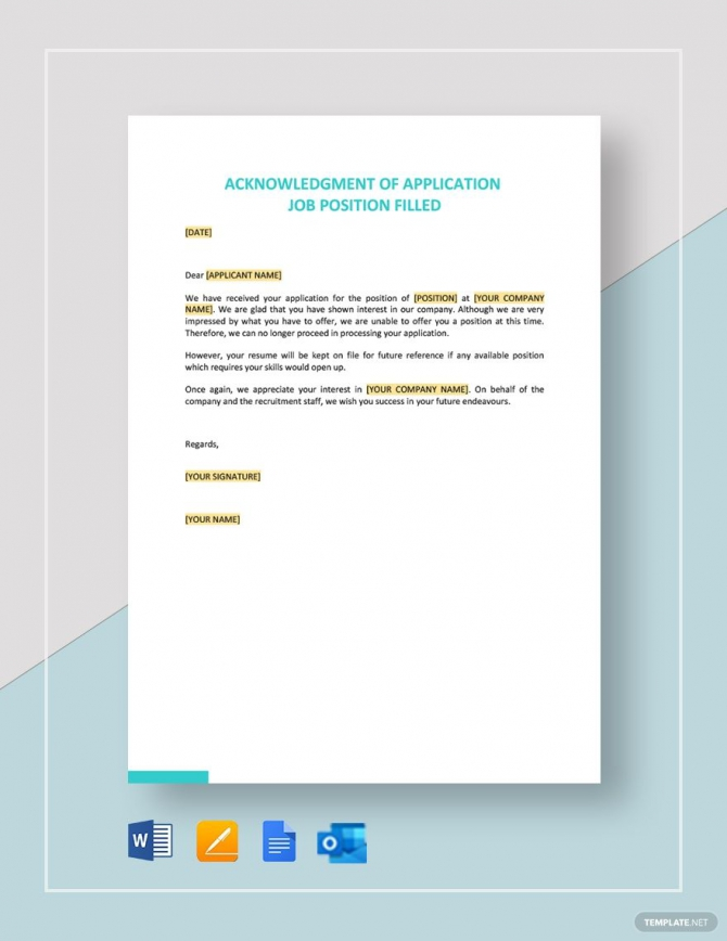 Acknowledgment Of Application Job Position Filled In