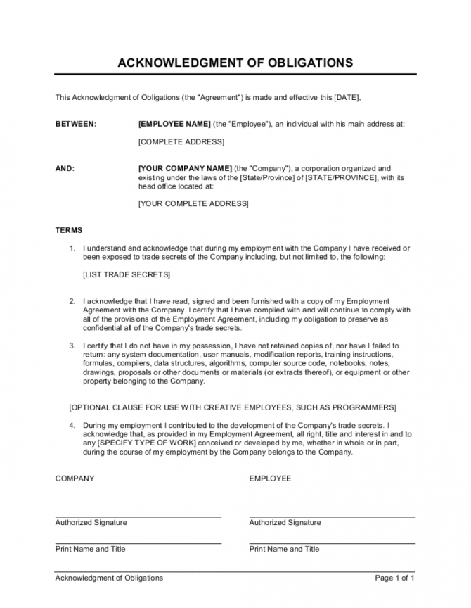 Acknowledgment Of Obligations Contract Template