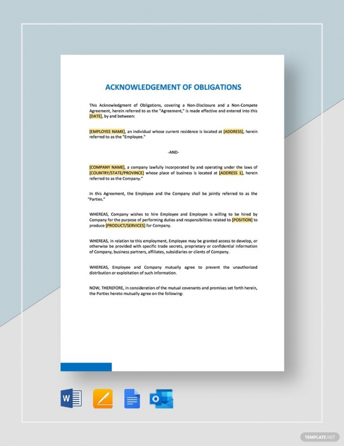 Acknowledgment Of Obligations Template In