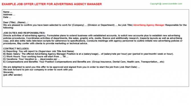Advertising Agency Manager Offer Letter