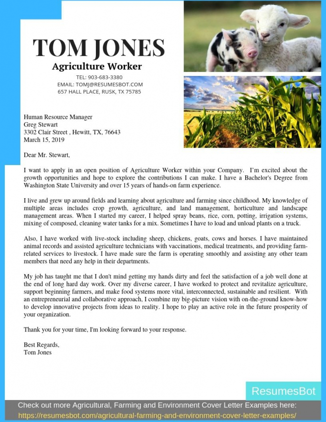 Agriculture Cover Letter Samples   Templates Pdfword