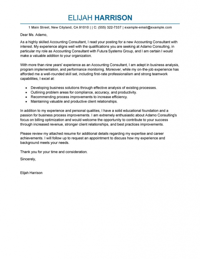 Amazing Consultant Cover Letter Examples   Templates From Our