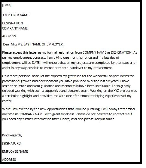 An Asserting Resignation Letter Which Appreciates The Role Of