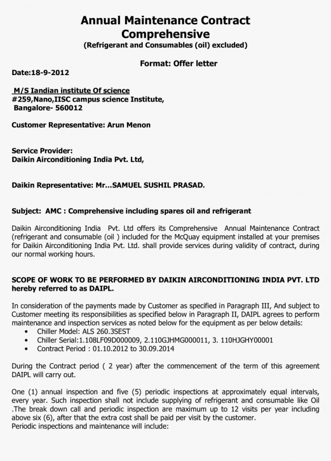 Annual Maintenance Contract Offer Letter Main Image