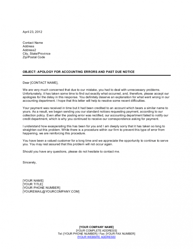 Apology For Accounting Errors And Past Due Notice Template