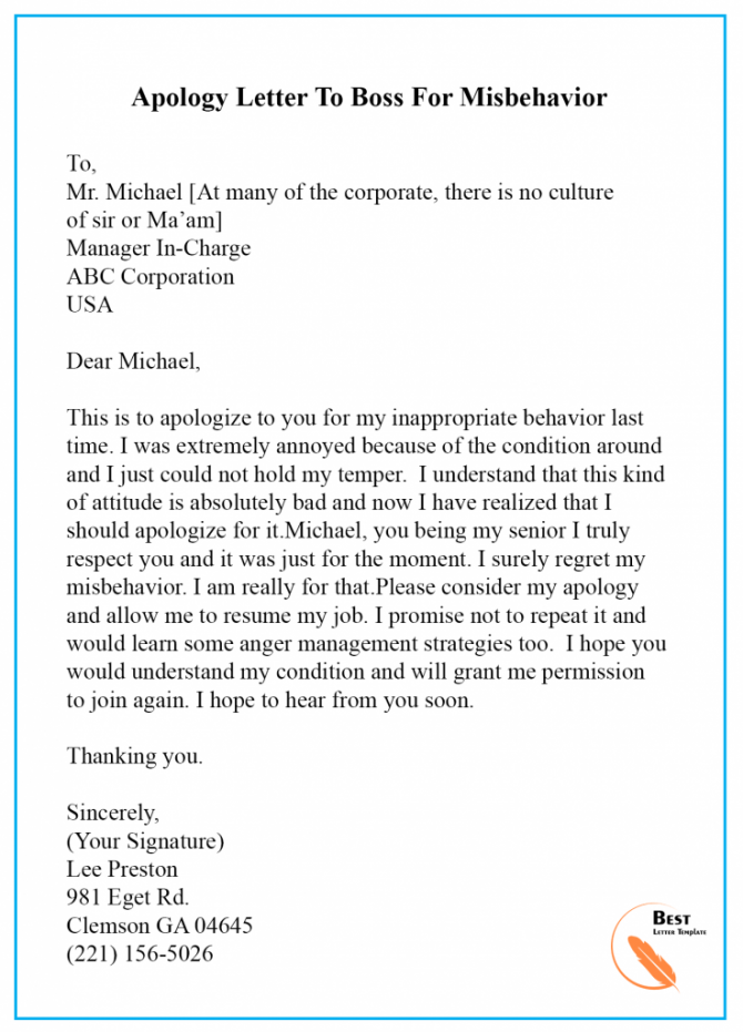 Apology Letter Template To Boss Manager  Sample   Examples