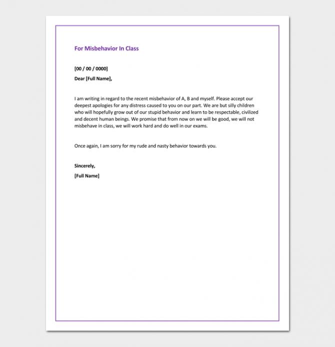 Apology Letter To Teacher