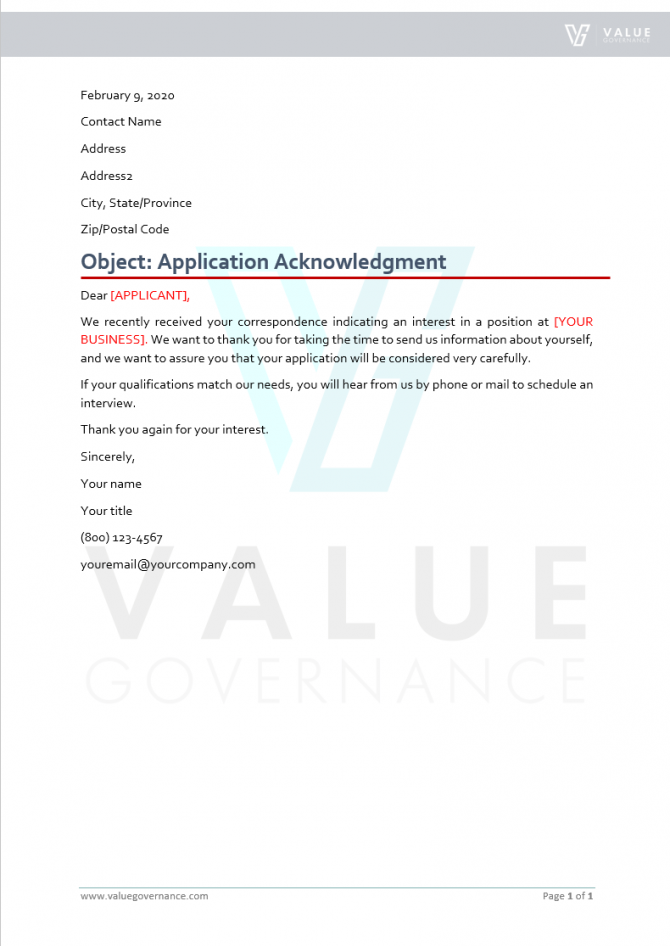 Application Acknowledgment