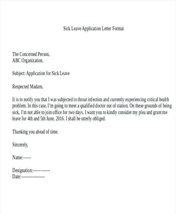 Application Letter For Medical Leave In