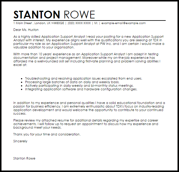 Application Support Analyst Cover Letter Sample