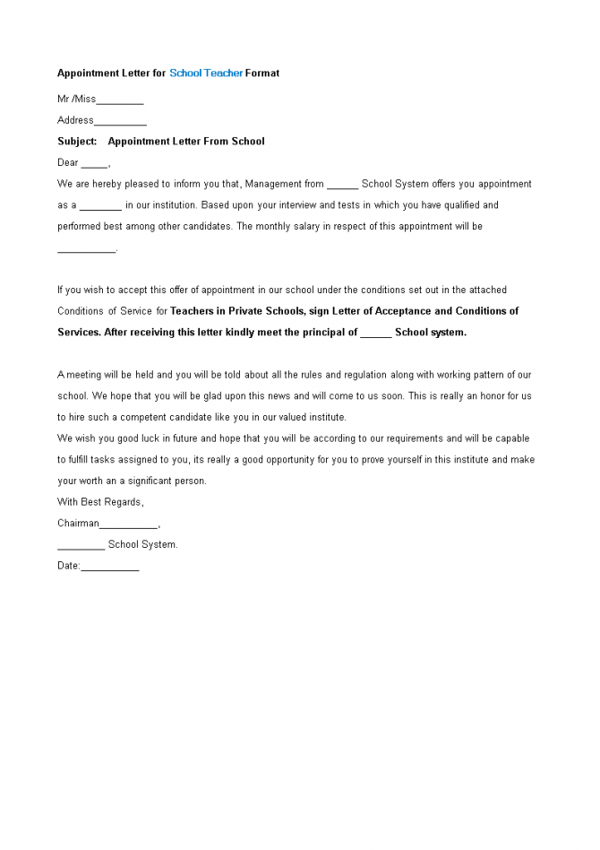Appointment Letter Format For School Teacher