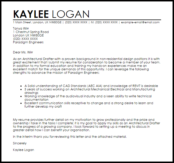 Architectural Drafter Cover Letter Sample