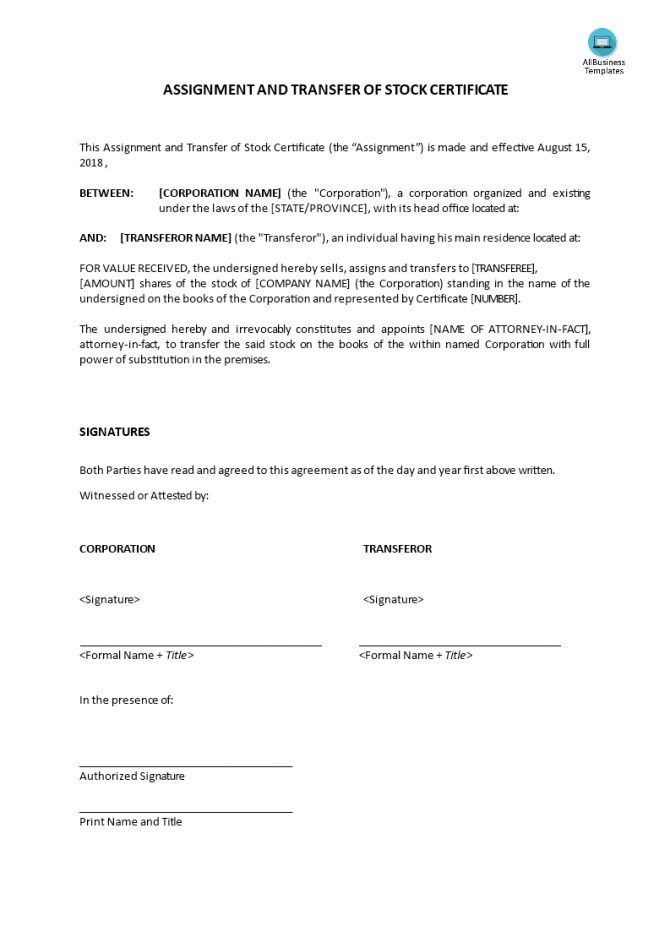 Assignment And Transfer Of Stock Certificate