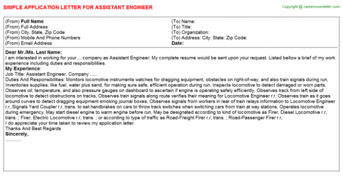 Job Application Letter For Assistant Engineer
