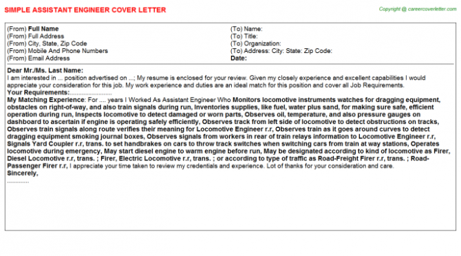 Assistant Engineer Cover Letter