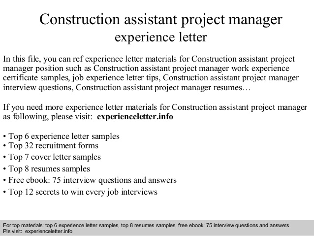 Assistant Project Manager Construction Cover Letter