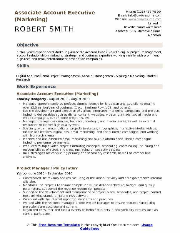Associate Account Executive Resume Samples