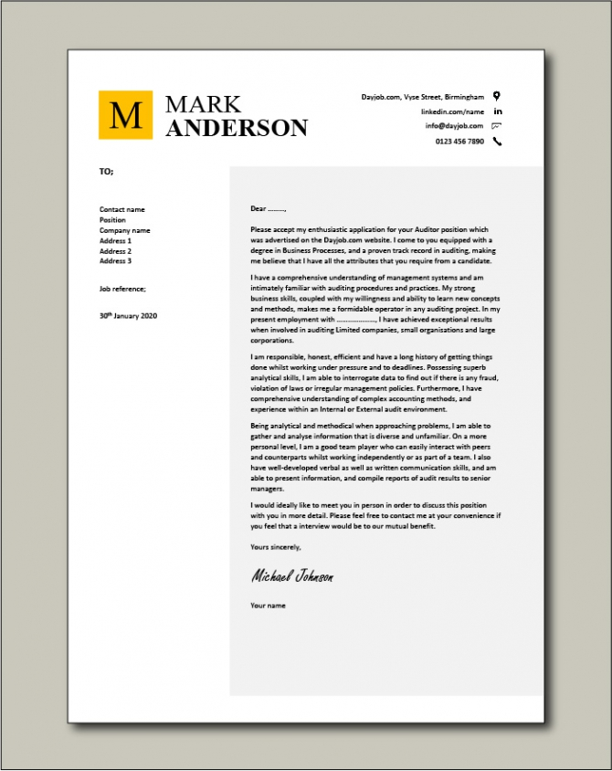 Auditor Cover Letter  Sample  Example  Auditing  Covering Letters