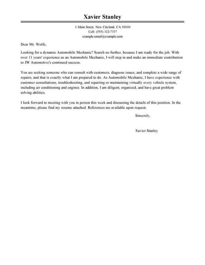 Automobile Mechanic Cover Letter Example  Tips