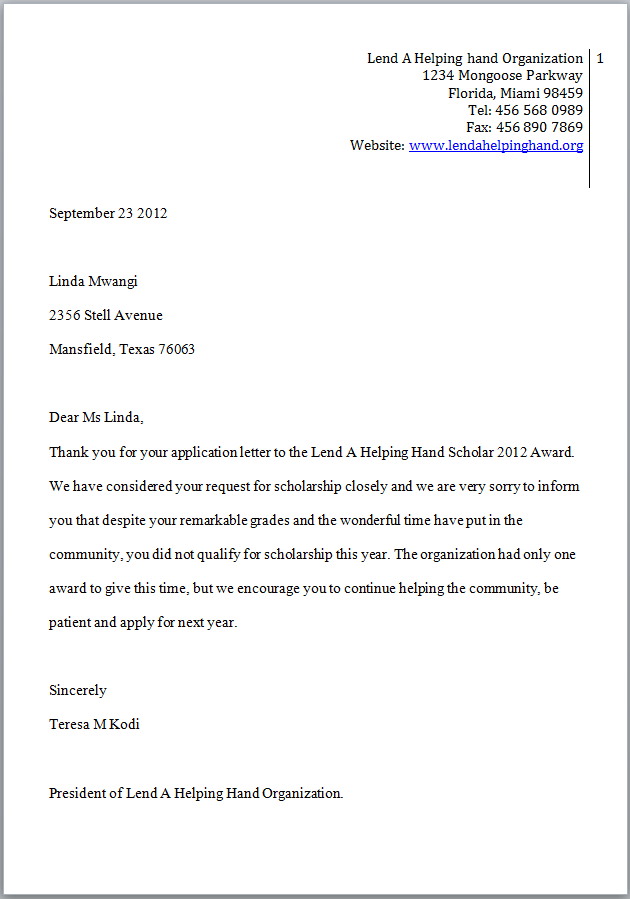 Bad Scholarship Award Letter