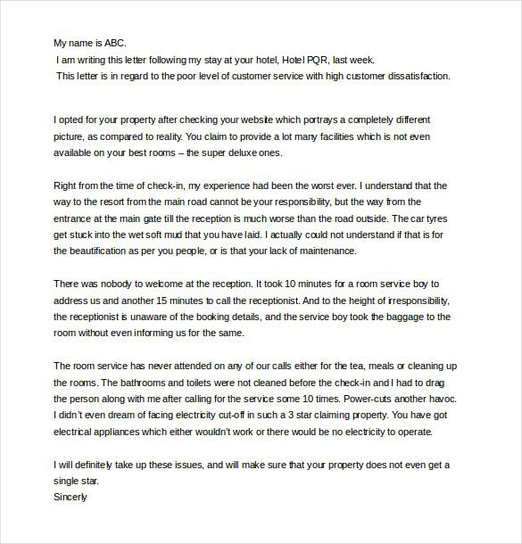 Bad Service Customer Complaint Letter Template