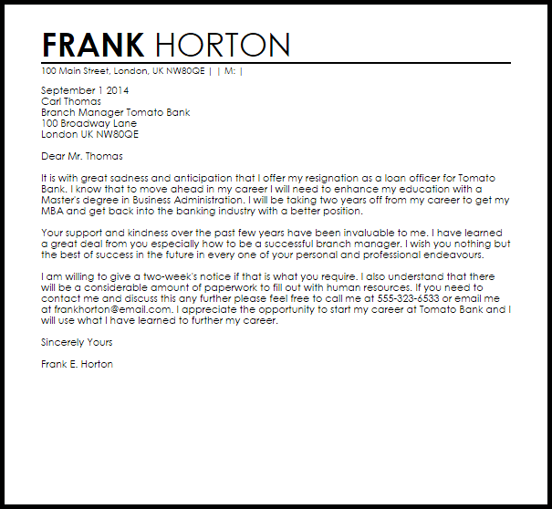 Bank Resignation Letter Example