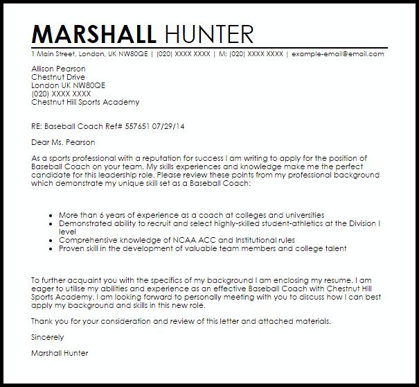 Baseball Coach Cover Letter Sample