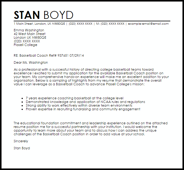 Basketball Coach Cover Letter Sample