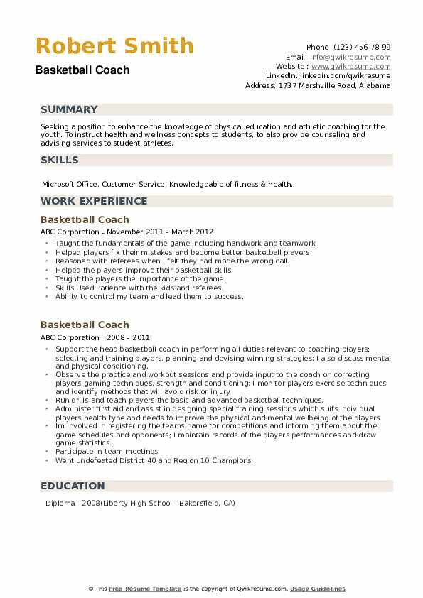 Basketball Coach Resume Samples