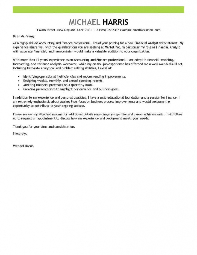 Best Accounting   Finance Cover Letter Examples