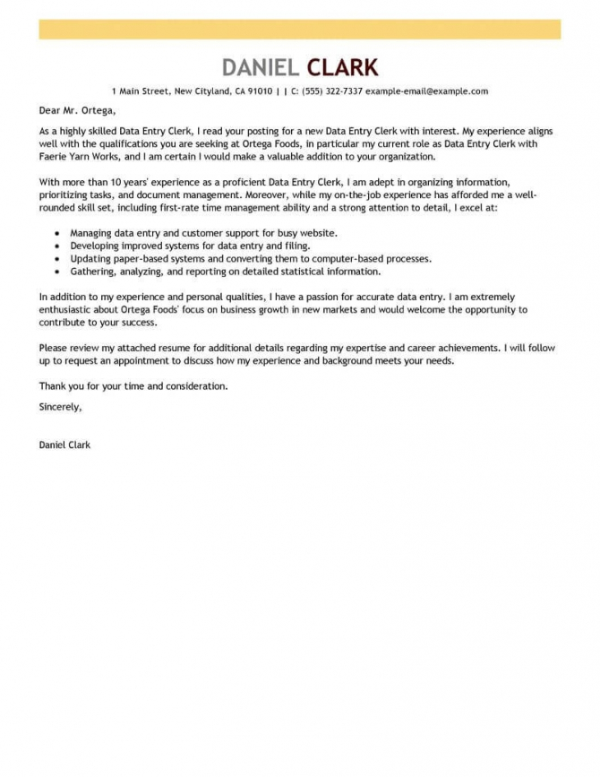 Best Data Entry Clerk Cover Letter Examples