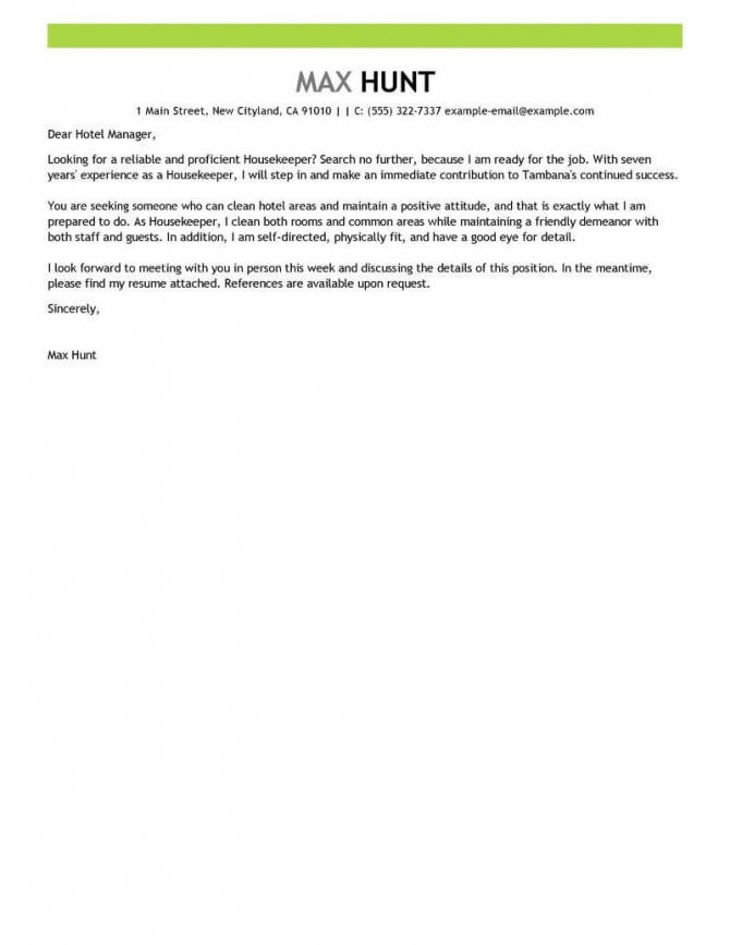 Best Housekeeper Cover Letter Examples