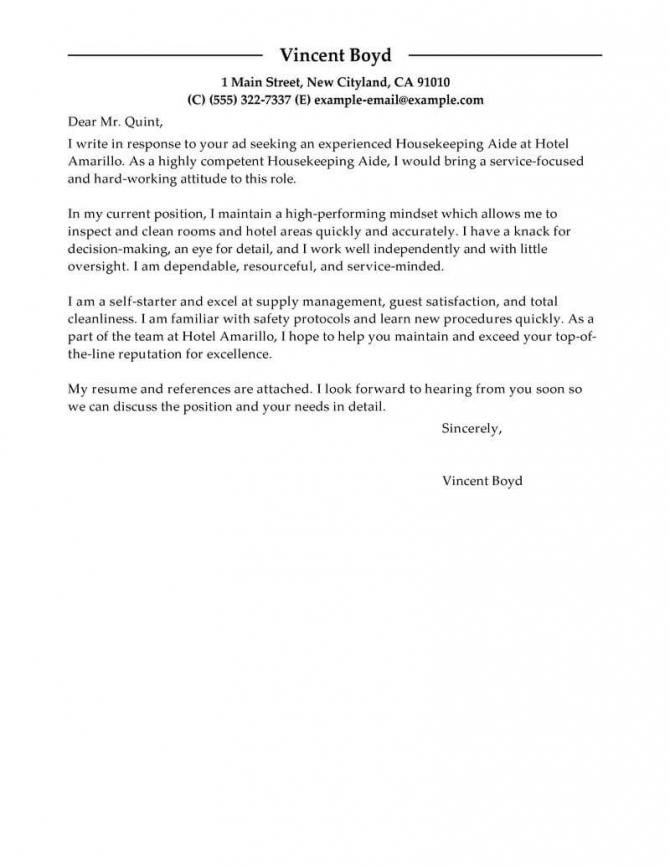 Best Housekeeping Aide Cover Letter Examples