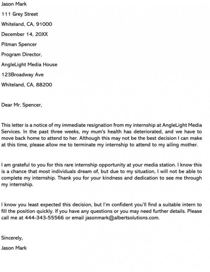 Best Internship Resignation Letter Examples   Samples