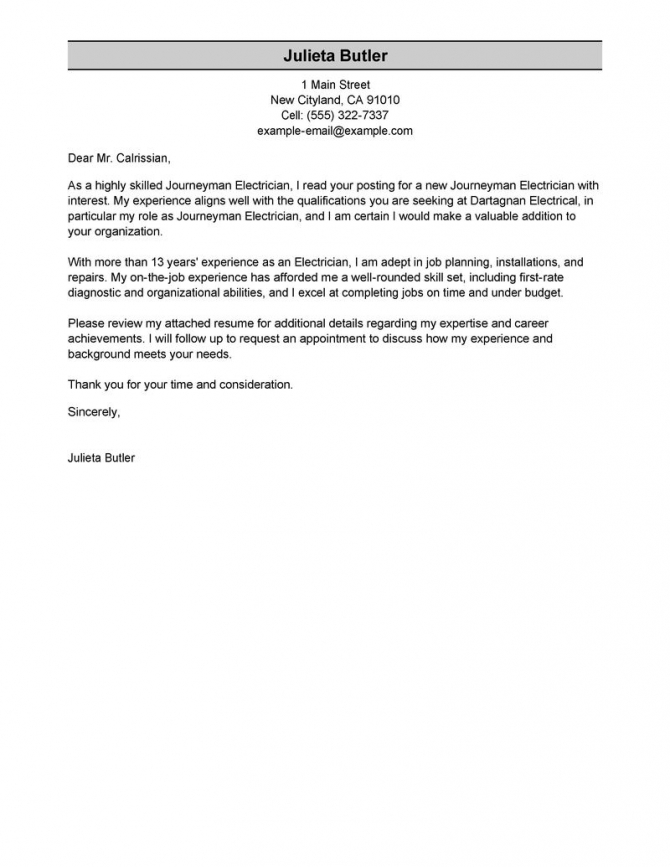 Best Journeymen Electricians Cover Letter Examples
