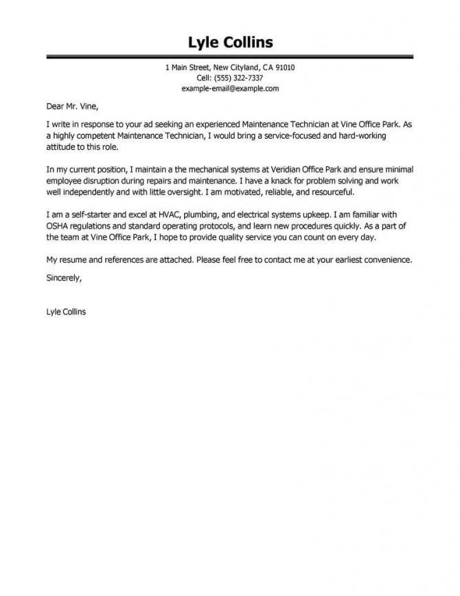 Best Maintenance Technician Cover Letter Examples