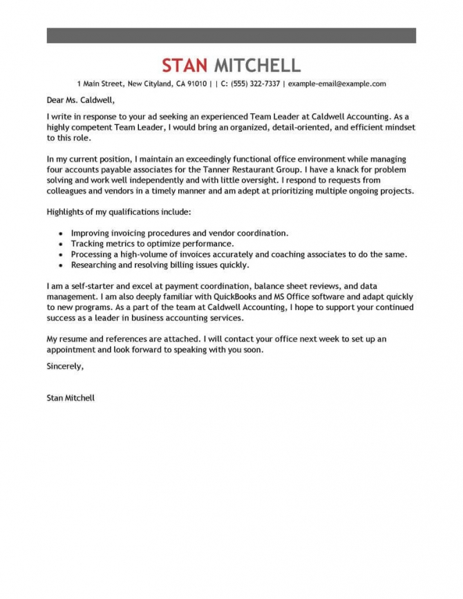 Best Management Team Lead Cover Letter Examples