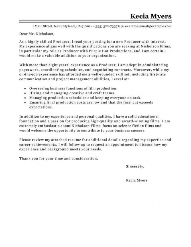 Best Media   Entertainment Cover Letter Examples