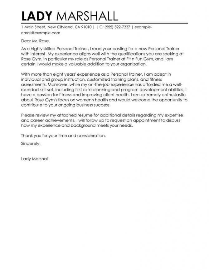 Best Personal Trainer Cover Letter Examples