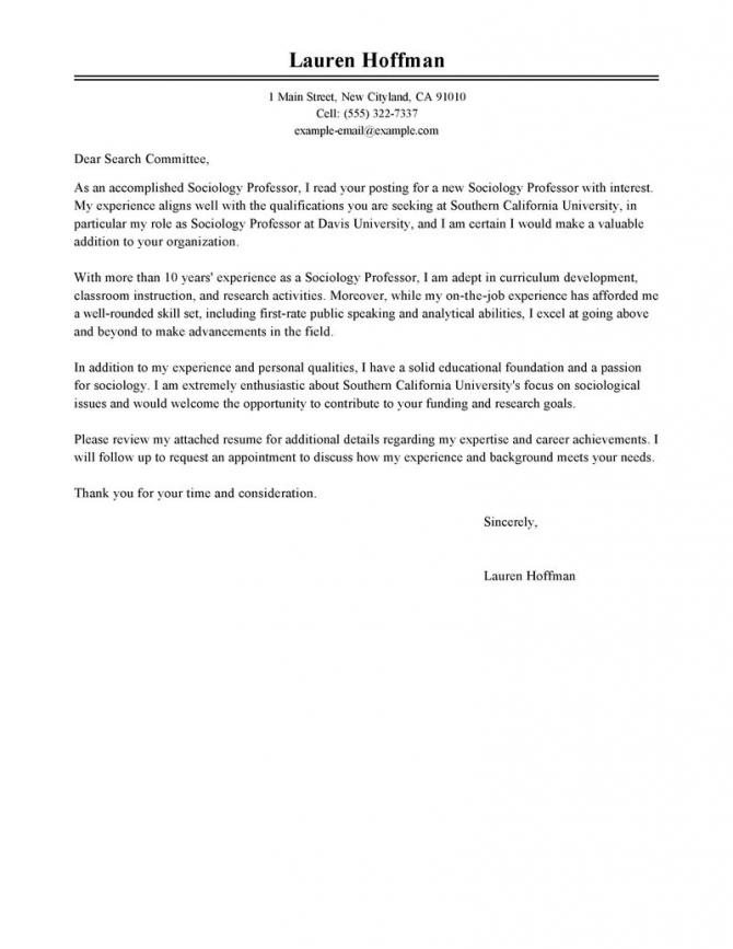 Best Professor Cover Letter Examples