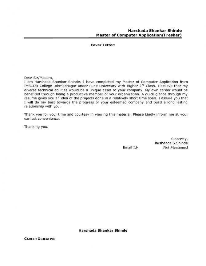 Best Resume Cover Letter Format For Freshers Govt Job